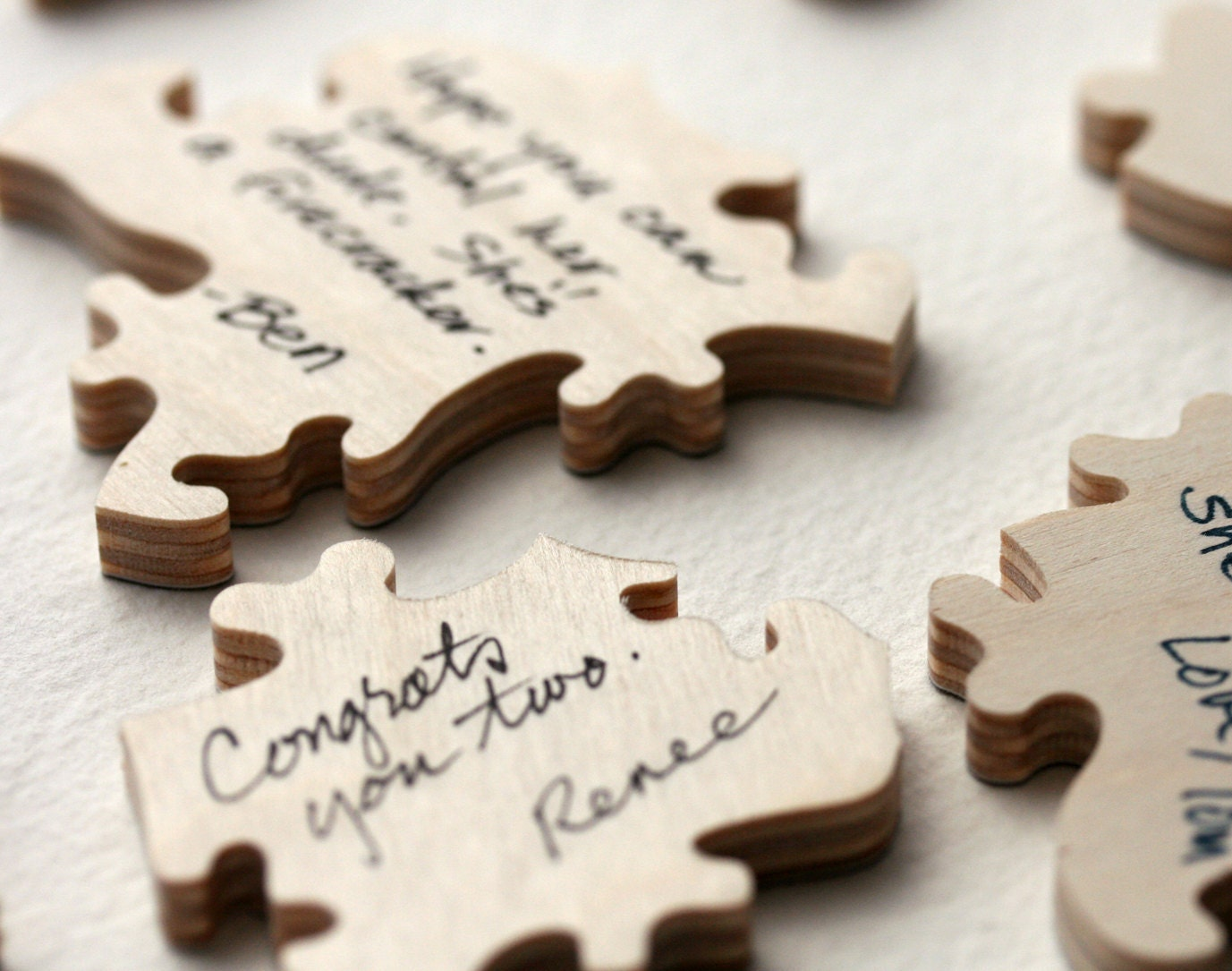 140 piece custom wedding guest book puzzle wood just a