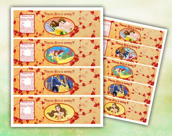 Belle Beauty and the Beast Water Bottle Labels by EDParty on Etsy
