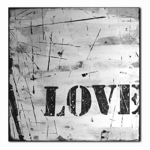 Original Canvas Painting   Black and White  BIG LOVE