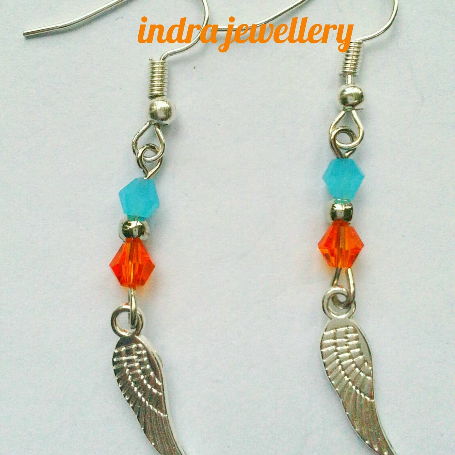 Angel wing earrings swarovski earrings angel wing jewelry beaded dangle earrings angel earrings