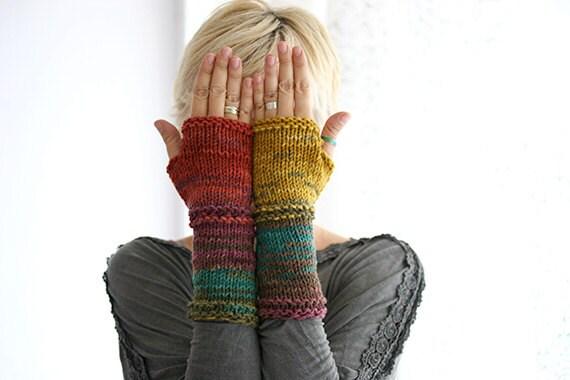 Hand knit fingerless gloves in harvest colors, Long knit gloves, Knit gloves mittens, Boho knit glove mittens, Girl's wool fingerless gloves - MarryGKnitCrochet