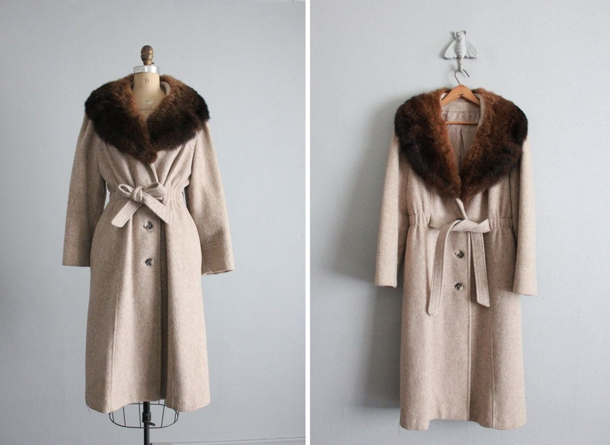 1970s vintage fur collar princess coat