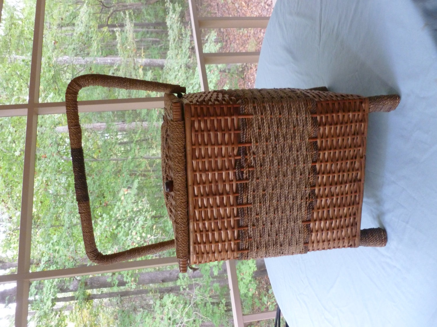 Wicker Basket With Sections : Wicker and rope basket weave section sewing box on by