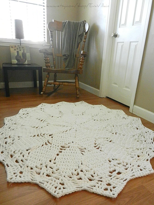 giant crochet doily rug white rug large area rug by evavillain. Black Bedroom Furniture Sets. Home Design Ideas