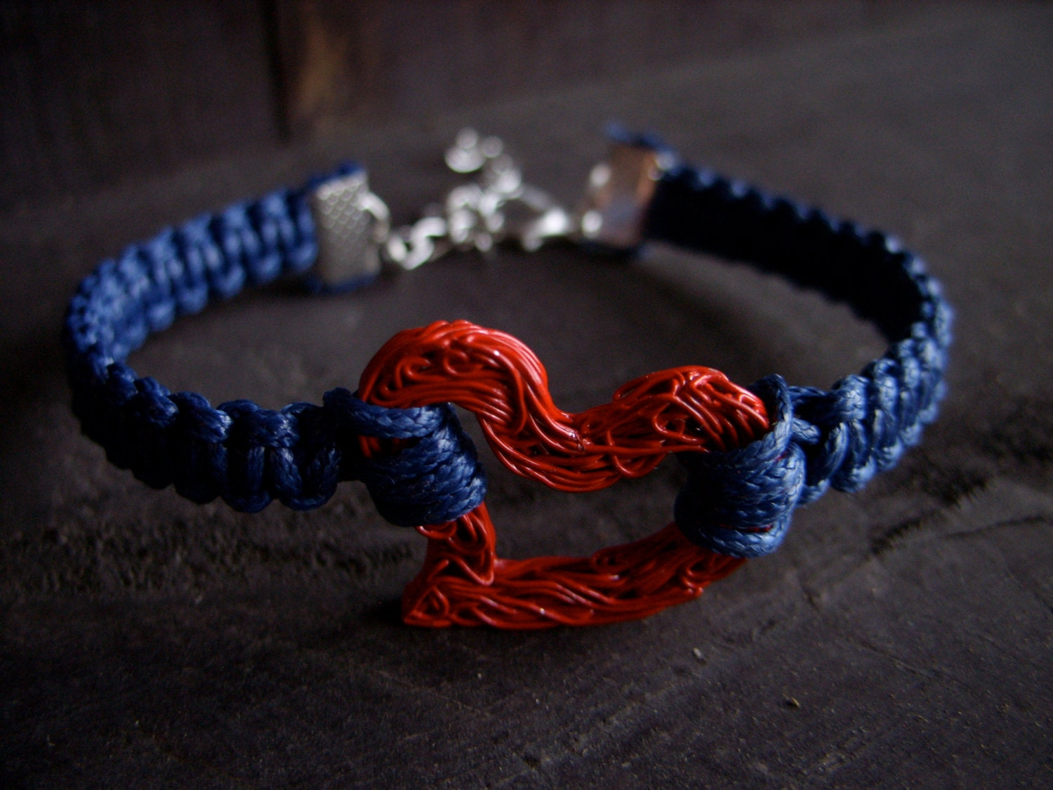 mother's day heart bracelet valentines day for her blue red love wire heart macrame bracelet friendship bracelet braided jewelry - MageBraids