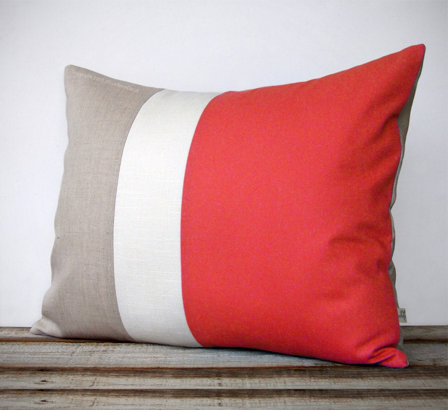 16x20 Color Block Pillow In Coral Cream And By