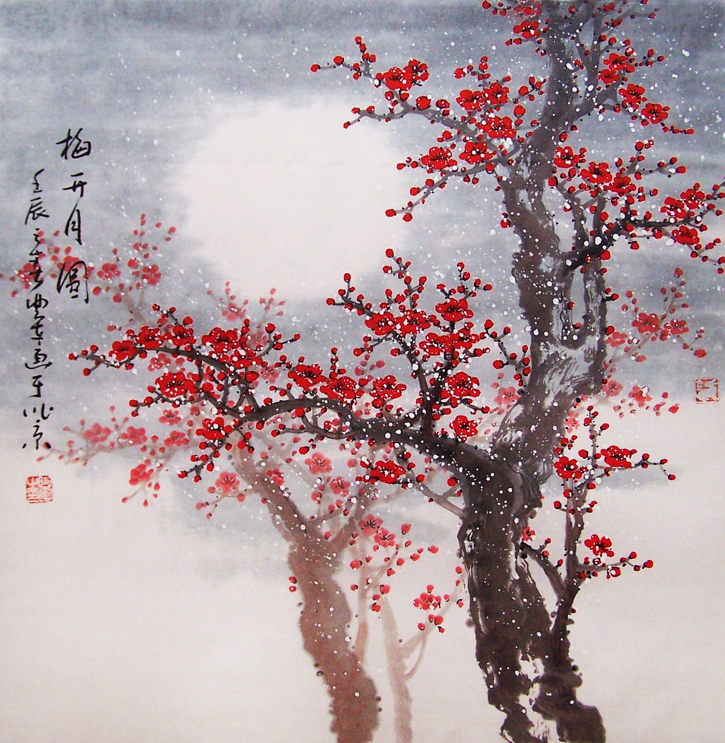Cherry blossom painting Original painting chinese art by art68