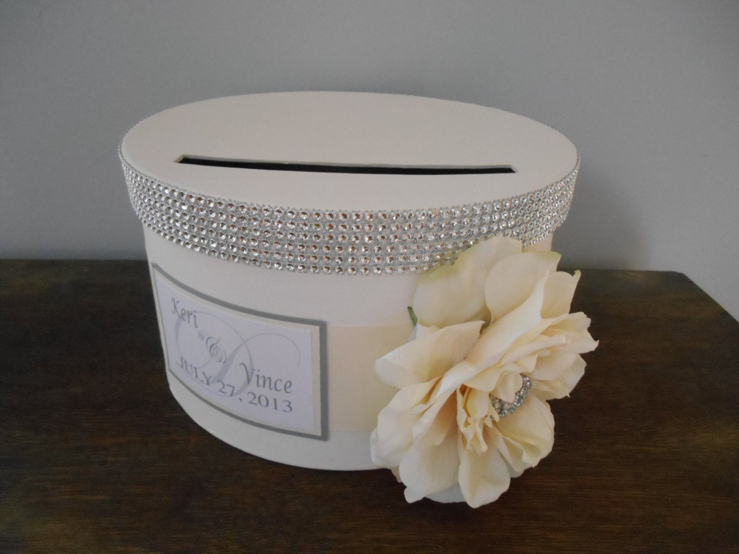 vintage glam wedding card box modern round with ivory ribbon ivory