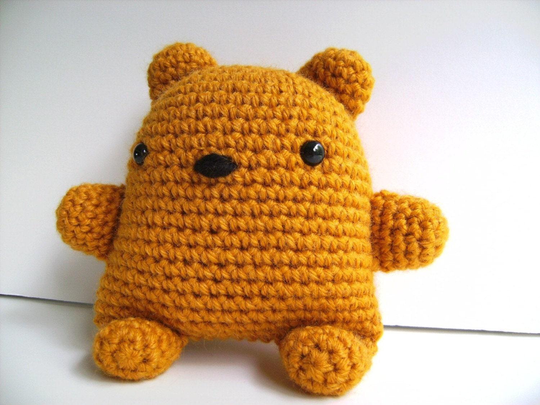 Crochet Teddy Bear Amigurumi : Items similar to Amigurumi Golden Teddy Bear Plush Toy ...