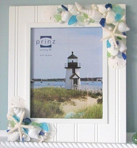 Пляж Декор Shell Frame ш море стекла - белого Seashell Frame ш Пляж Стекло, 5x7