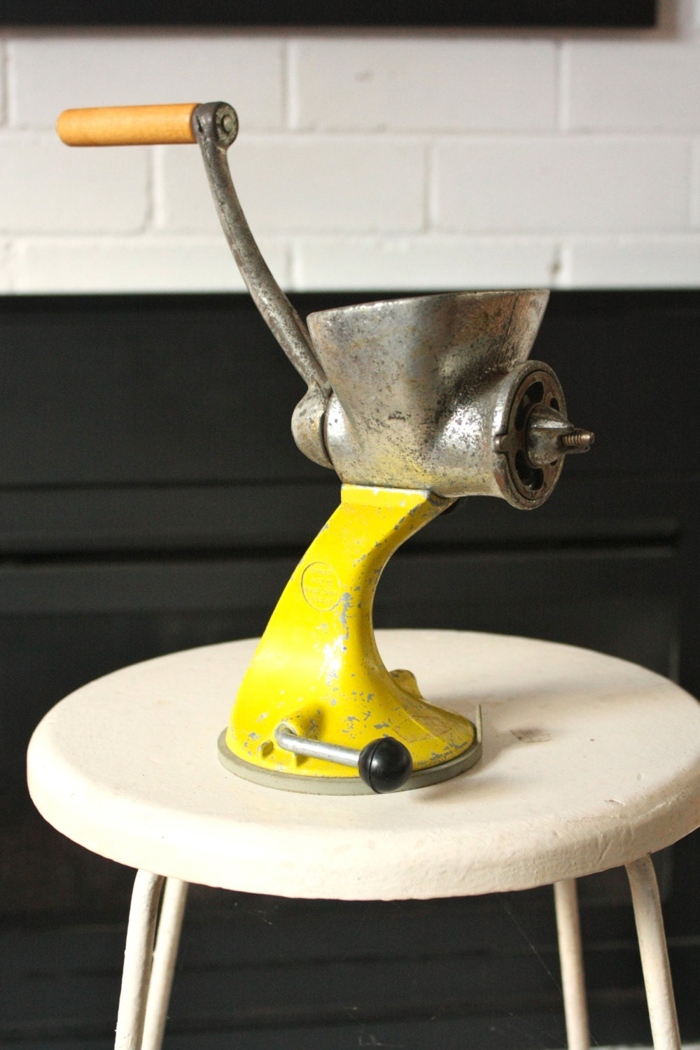 Vintage Meat grinder Industrial Yellow Retro by Spong - TriBecasVintage