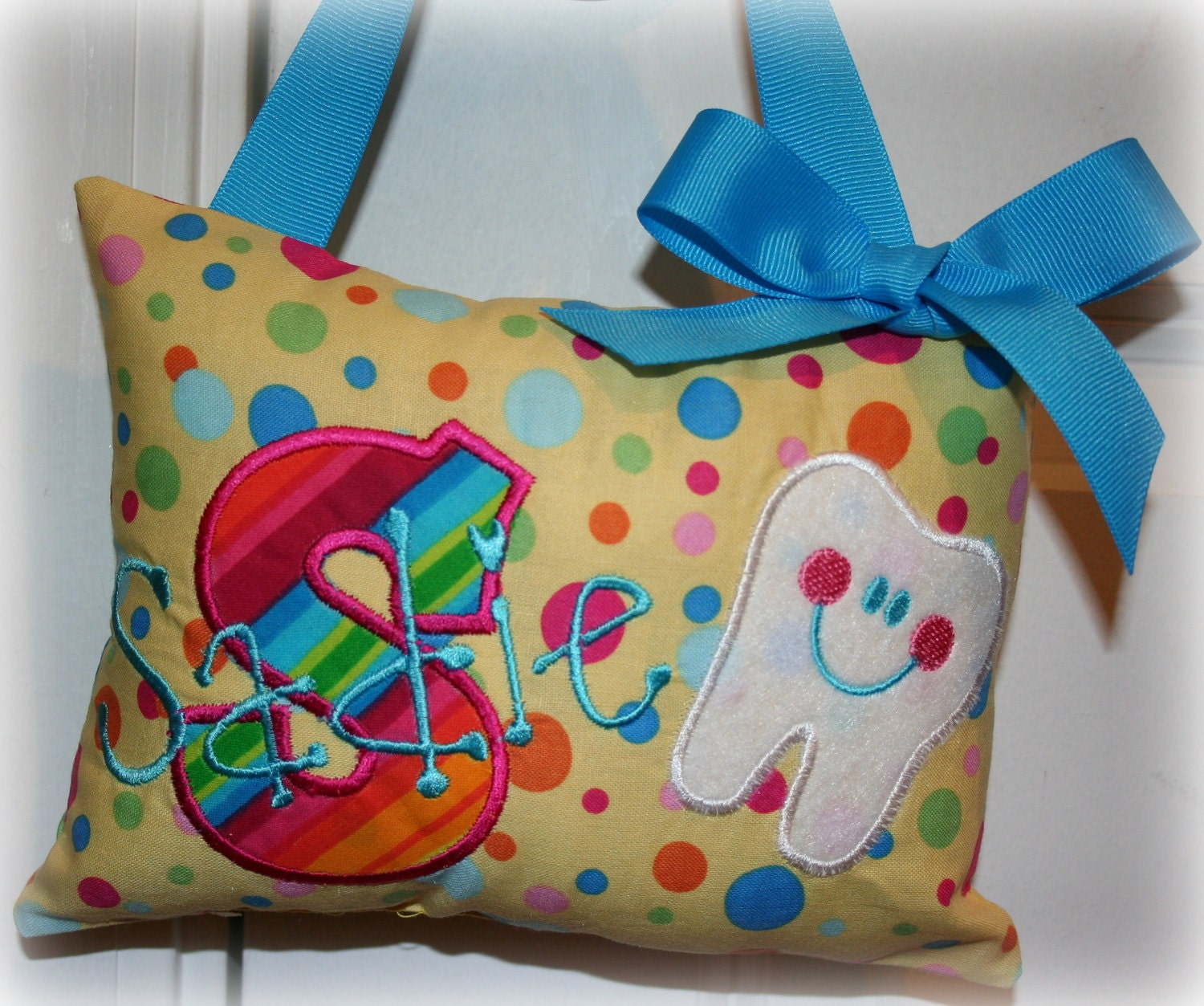Cute Tooth Pillow : Tooth Fairy Pillow Girls Personalized Rainbow by SandDStitches