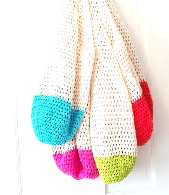 Beach Bag Crochet : Crochet Beach Bag in Your Color Choice Hot Pink, Lime Green, Bright ...