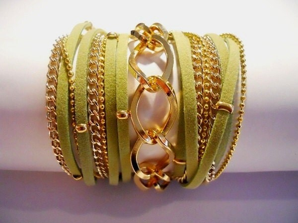 Green suede wrap bracelet with chunky gold curb chain, gold plated beads and chains - Annikaloveforwraps