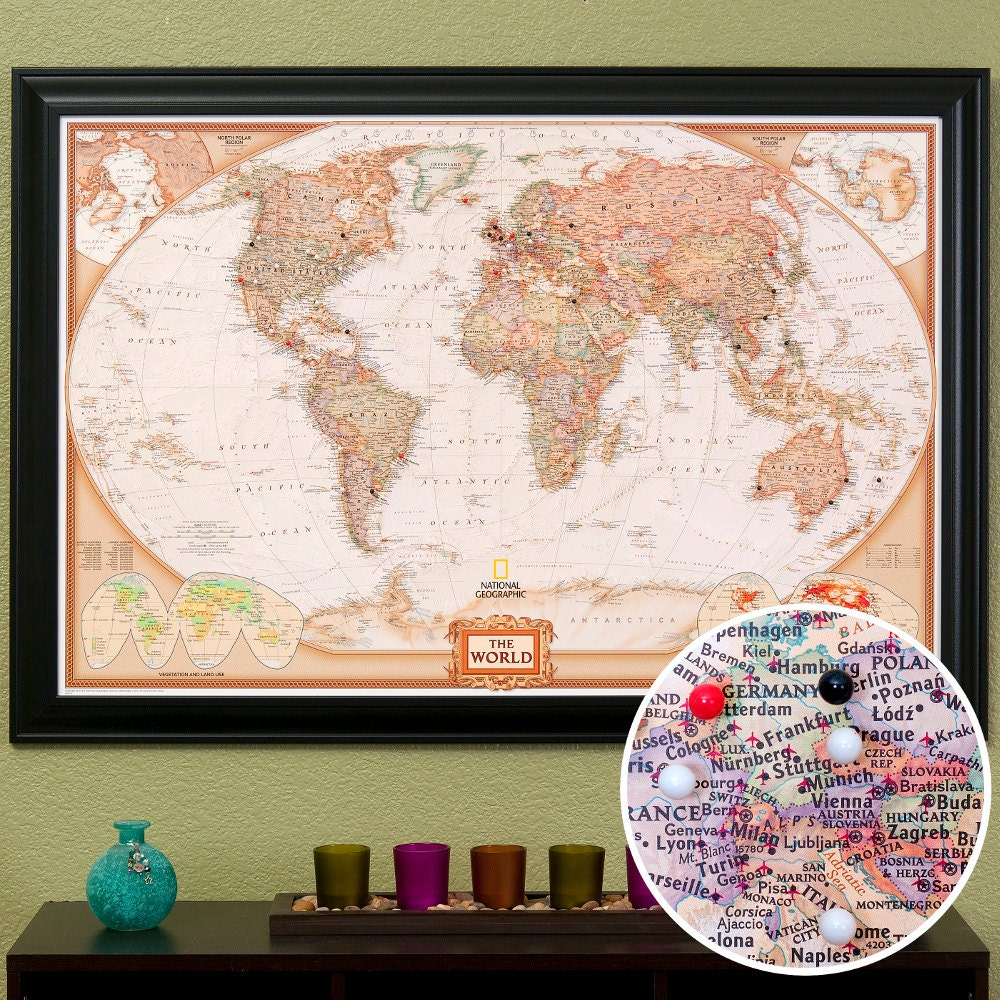 world travel map with pins and frame by pushpintravelmaps on etsy. Black Bedroom Furniture Sets. Home Design Ideas