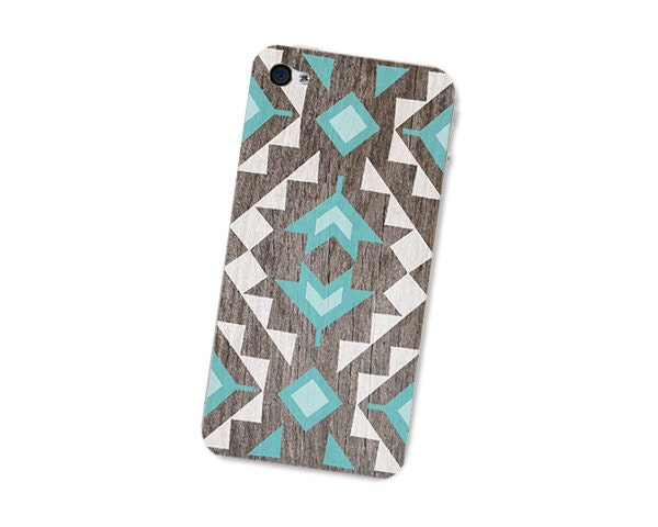 iPhone Decal - Geometric Wood iPhone 4S Skin: Iphone 4 Skin Decal - Southwest Triangle Tribal in Turquoise Brown and White Boho For Him - fieldtrip