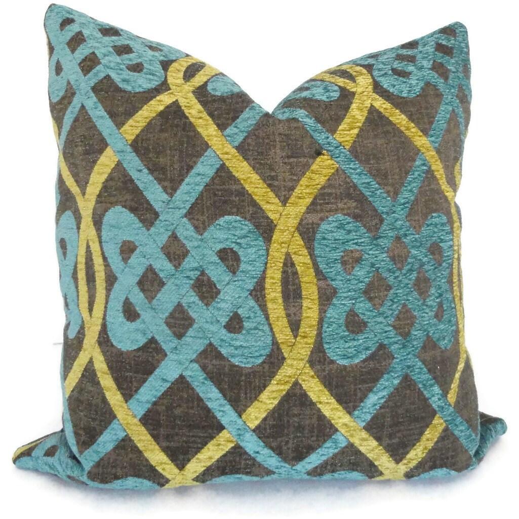 Aqua Brown Decorative Pillows : Brown and Aqua Celtic Knot Decorative Pillow Cover by PopOColor