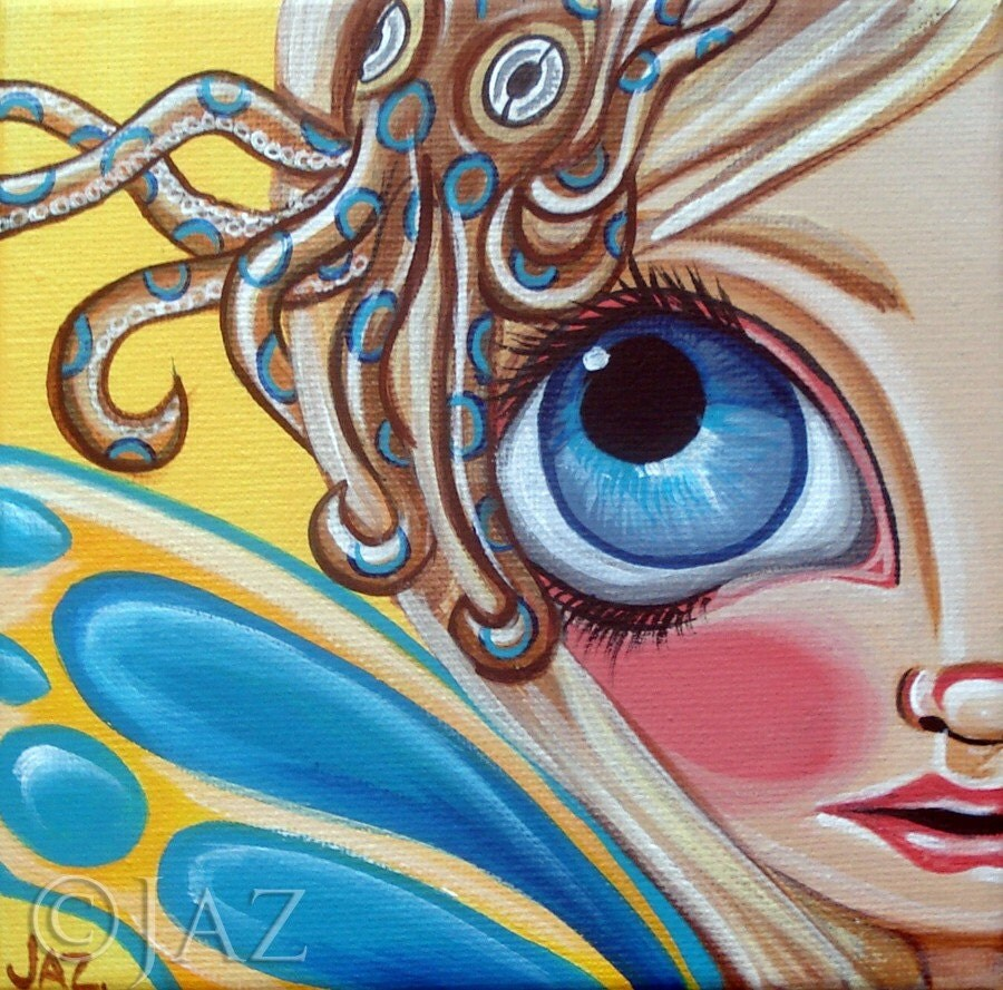 ART PRINT - Blue-Ringed Octopus Fairy - by Jaz - 8x8