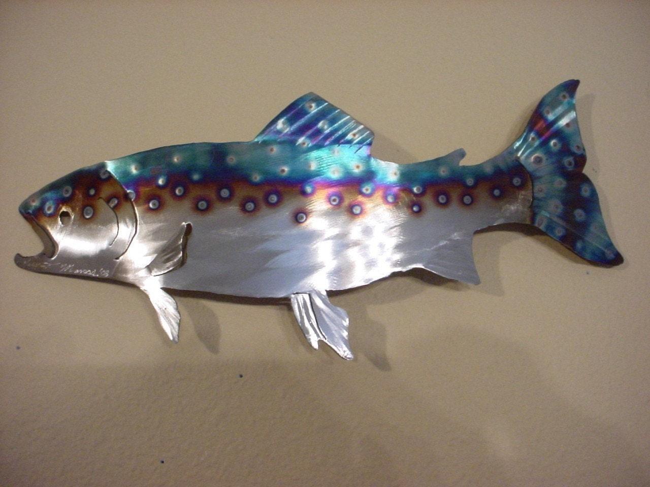 Rainbow Brown Lake Trout Fish Metal Steel By