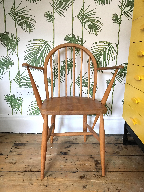 Ercol Windsor Carver Chair Blonde Wood 1960s Retro Mid Century Design 1970s