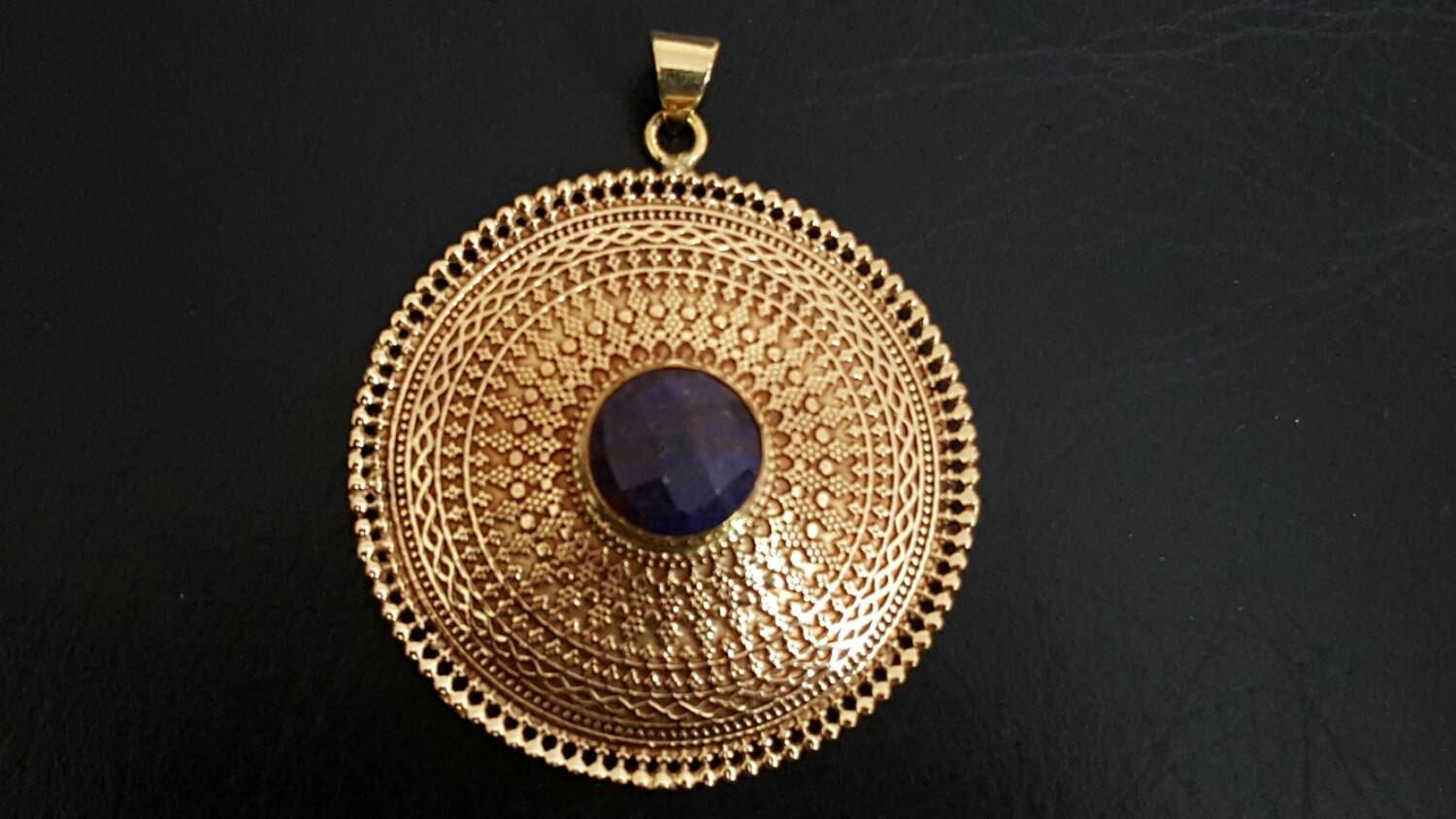 Amethyst   pendent tribalavtar pendent tribal Brass pendent ethnic pendent yoga jewellery brass pendent white brass pendent