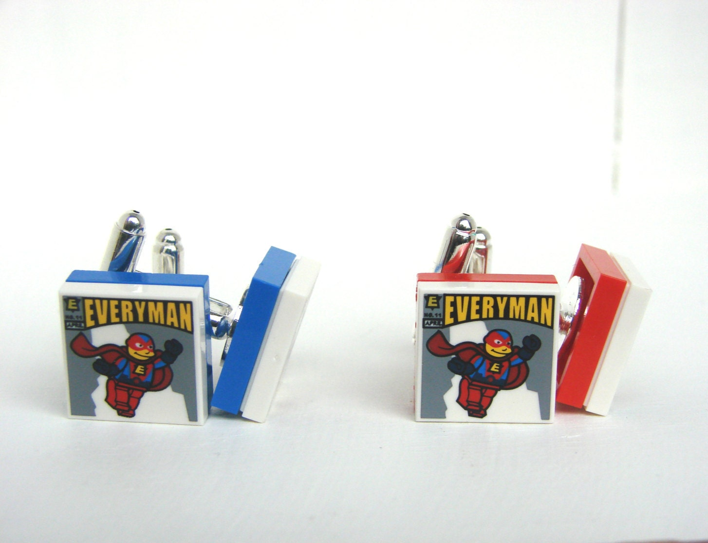 LEGO(R) Simpsons Superhero Comic Silver plated Handmade Cuff Links. Great gift for any LEGO(R) lovers. Gifts for Men Novelty.