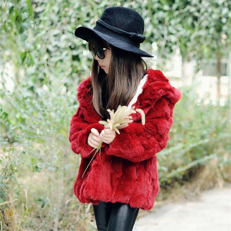 Scarlet Rex Rabbit Fur Kids Coat With Hood