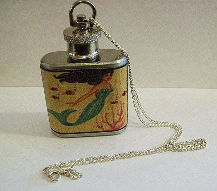 mermaid flask necklace retro vintage pin up rockabilly kitsch - buckaroosmercantile
