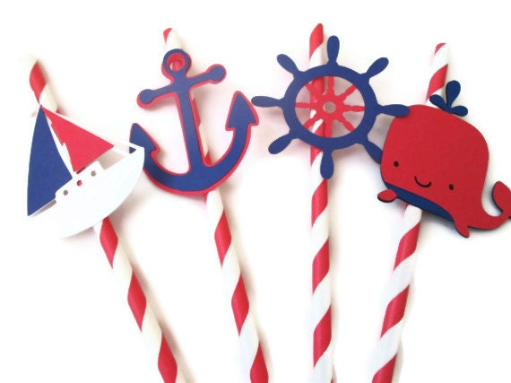 Set of 12 Navy and Red Nautical Straws - Baby Showers, Under the Sea, Birthday Parties, Nautical Parties, Clambakes - MoosesCreations