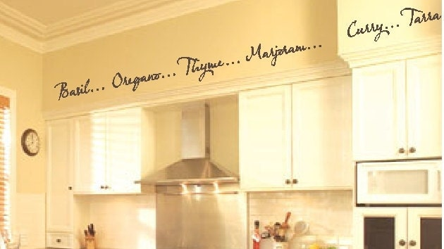 Kitchen Words Spices Wall Border Soffit Border by VisionsInVinyl