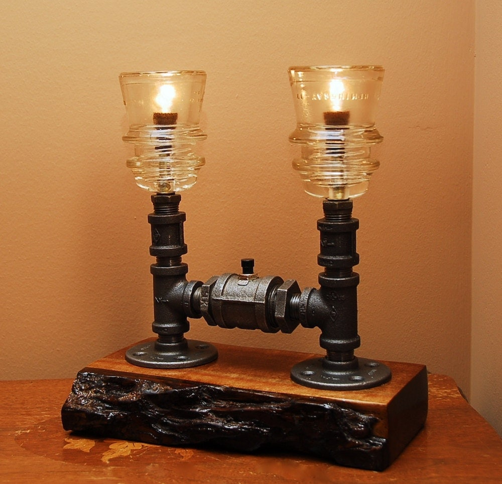 Industrial Style Lamp With Glass Insulators And By