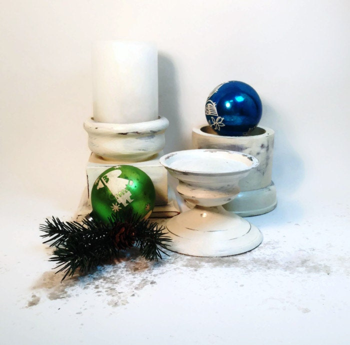 Distressed White Candle Holder Trio Shabby Home Decor, Wedding Decor, Holiday Decor - northandsouthshabby