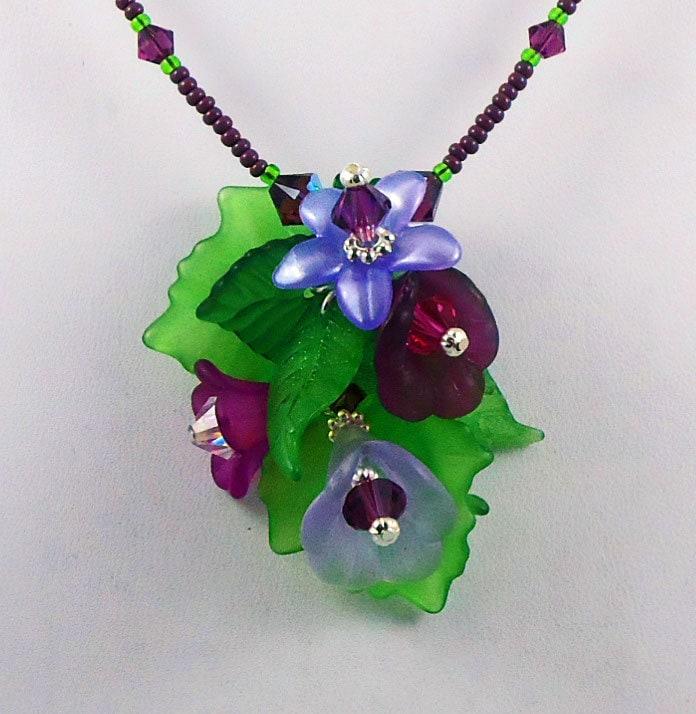 Necklace Pendant Bouquet Crystal Flowers Leaves Purple Lavender - TinksTreasure