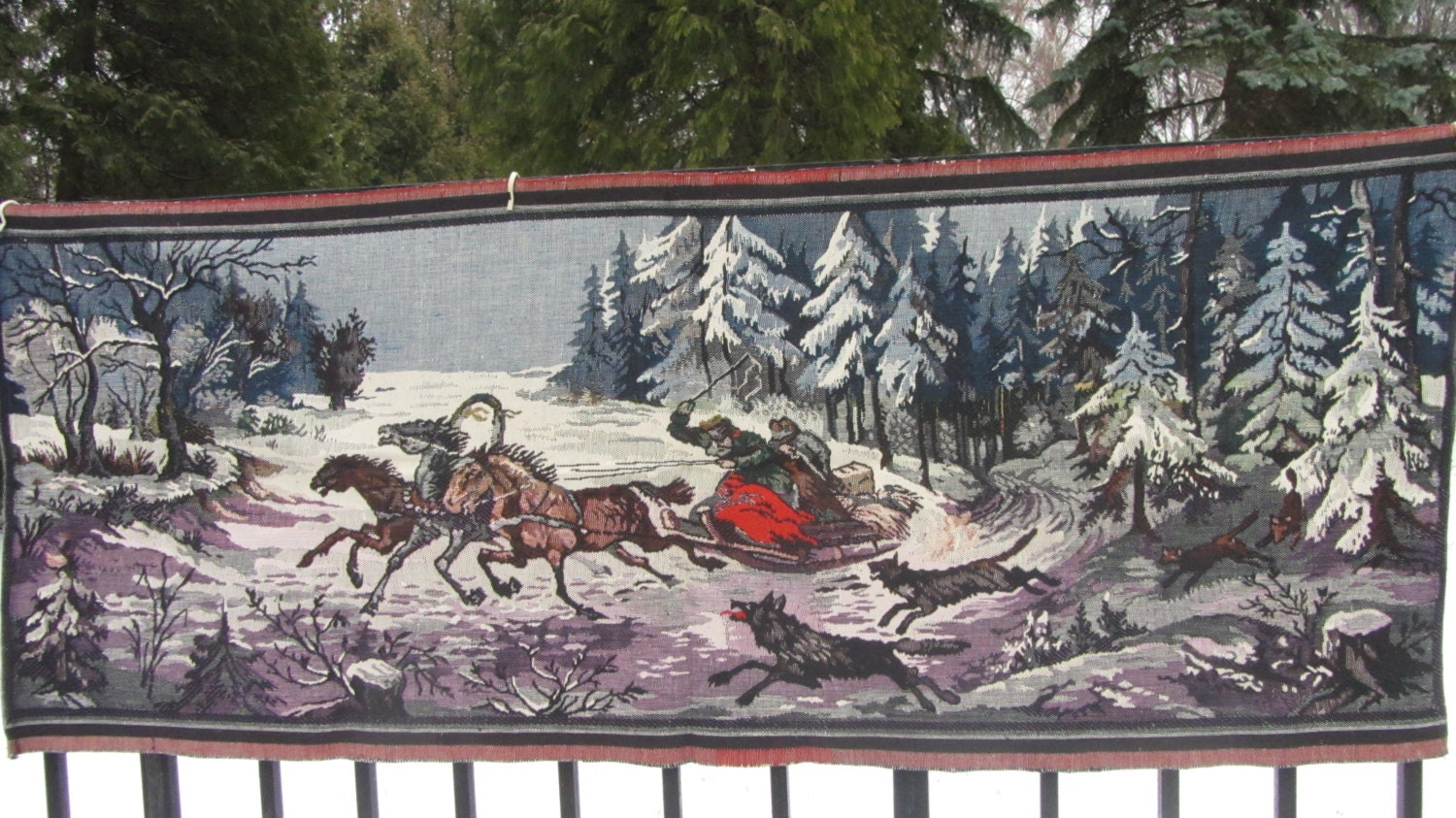 Cotton Vintage Fairy Tale Carpet from USSR, Cotton wall hanging, Home decor Carp