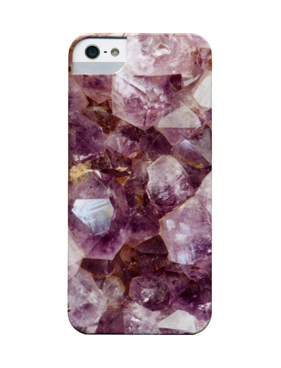 iPhone Mobile Phone Case - Mineral Photograph of Amethyst Crystals - Amethyst and Gold - dsbrennan