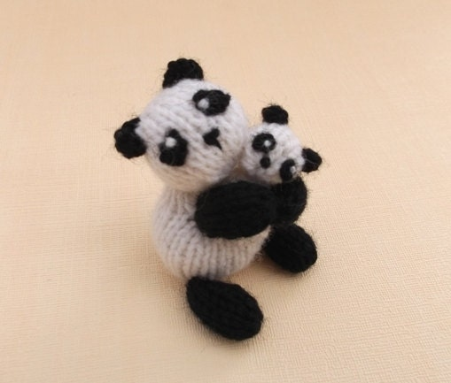 items similar to mummy panda and baby panda knitting