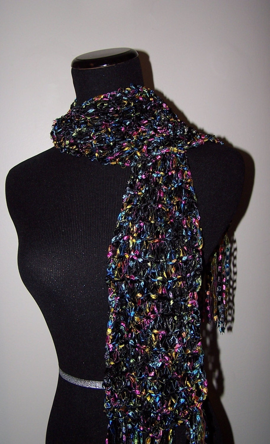 Black and Bright Multicolor Scarf Knit from by WeeCatCreations