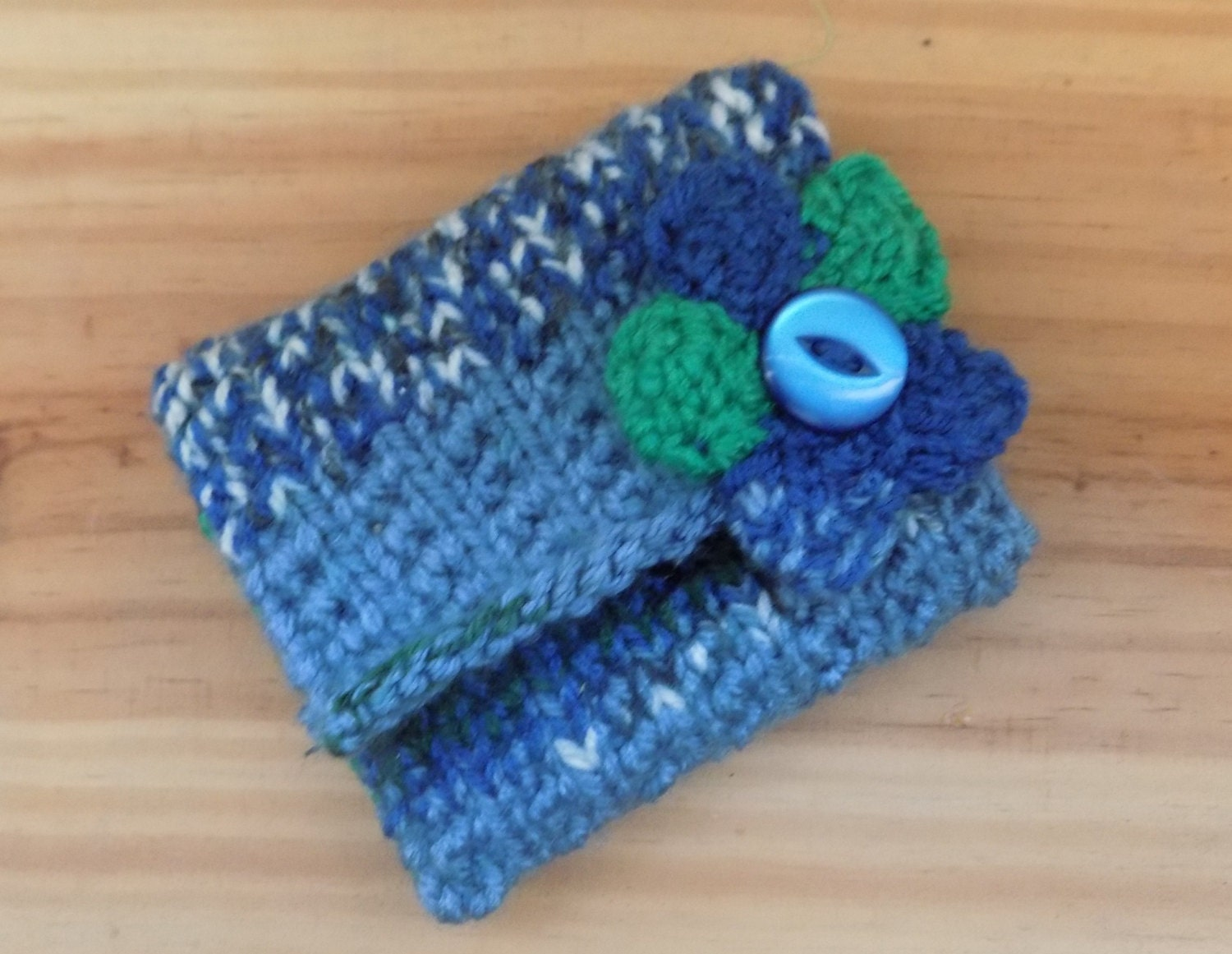 Blue and Green Coin Purse Hand Knitted  Purse  with Decorative Flower