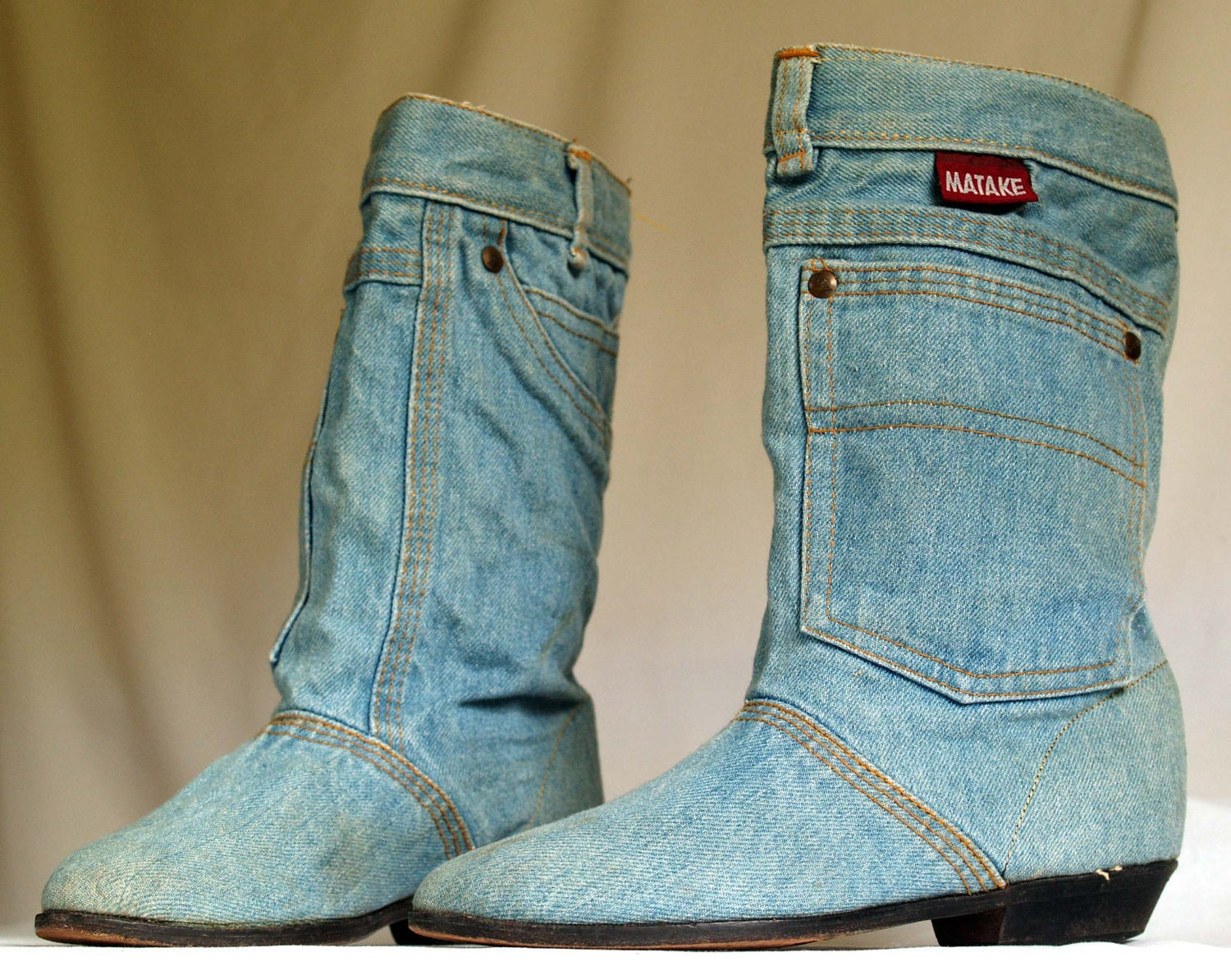 vintage denim ankle boots womens size 8 by nashdrygoods