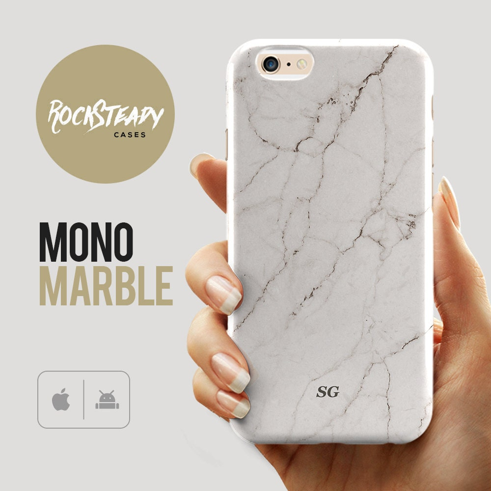 Monogram Marble iPhone 6s case custom personalized Name Samsung Galaxy S6 S7 S5 S4 phone case iPhone 6 Plus 5C 5S SE case White