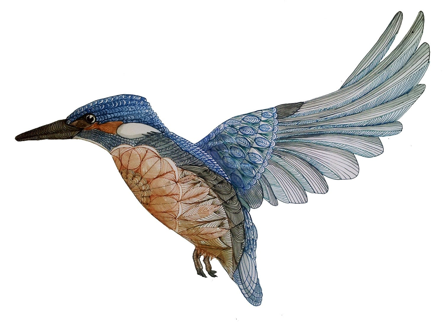 Line Drawing Kingfisher : Request a custom order and have something made just for you