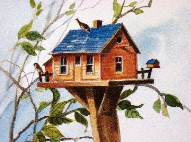 Bird House Farm Print Watercolor Painting - judithbelloriginals