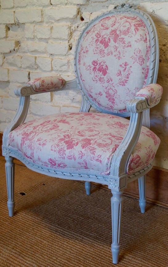 French Antique Louis XVI Painted Armchair in CABBAGES  ROSES Paris Rose