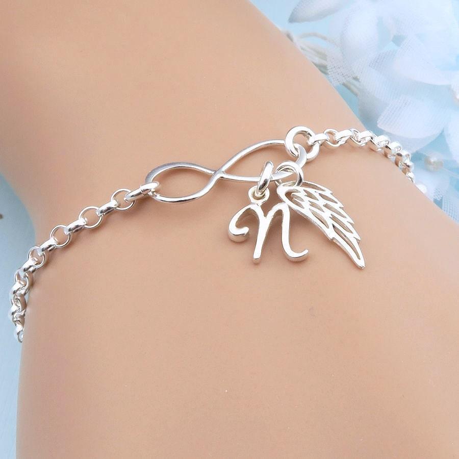 Wing Bracelet Personalized Infinity Bracelet  charm bracelet sterling silver remembrance jewelry angel wing initial bracelet