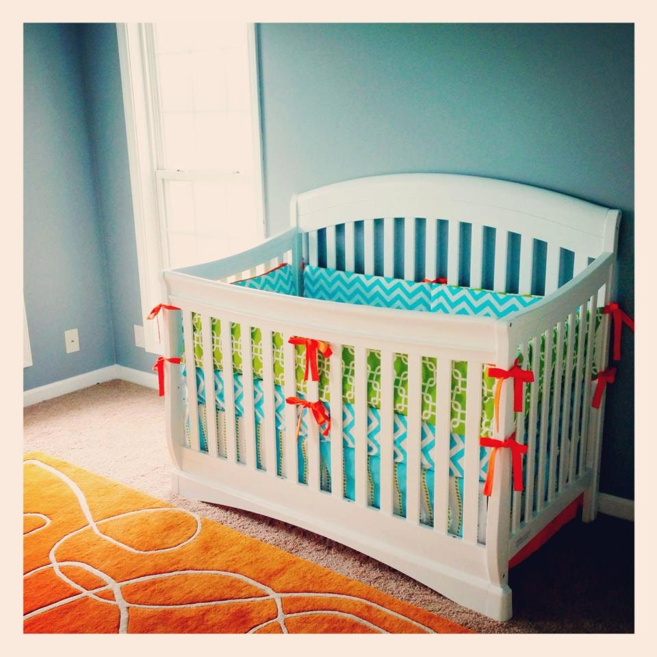 Aqua And Orange Crib Bedding Set