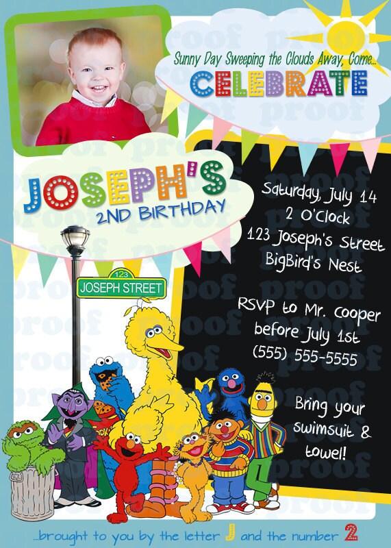Items similar to Sesame Street Birthday Invitation ...