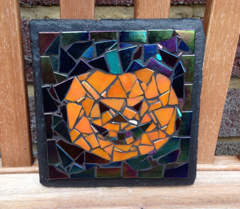 Mosaic Halloween Pumpkin on Slate
