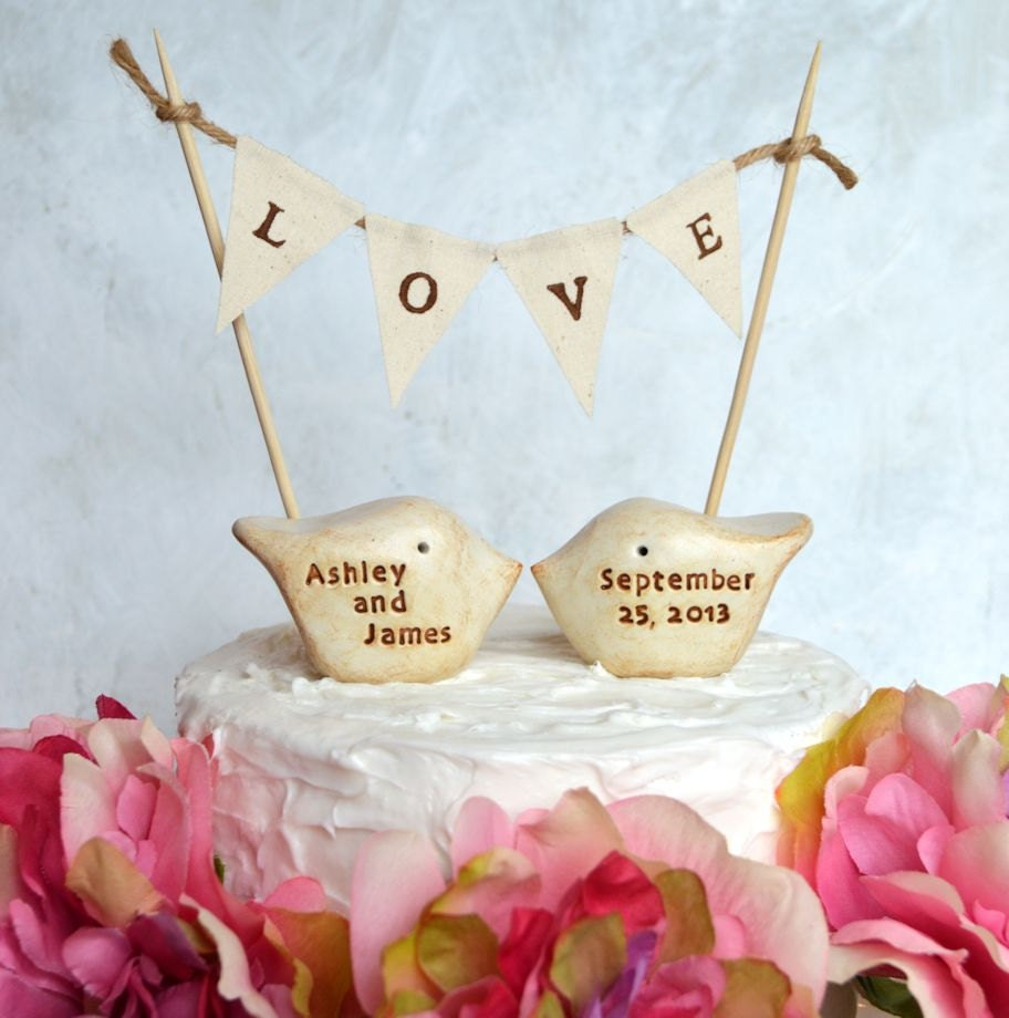Wedding cake topper and L O V E banner...package deal ... PERSONALIZED  love birds and fabric banner included - SkyeArt