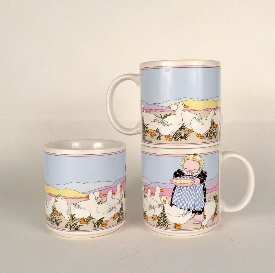 Vintage Coffee Cups Mugs 1980 3 Teacups Cupshome Decor By Byheart