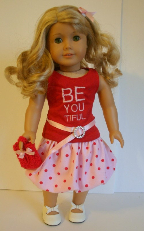 Be You 5 piece outfit,  to fit your 18 inch american girl or similar doll, tank,skirt, belt, purse, and hairbow